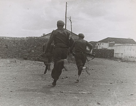 One of Gerda Taro's images from the re-staged battle