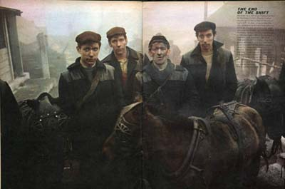 Pit ponies and miners from the series The North